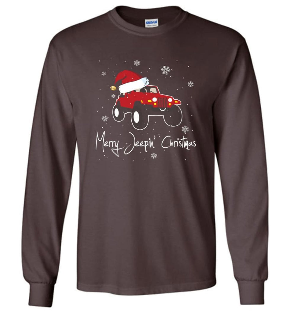 Jeep Shirt Merry Jeepas Jeep Sweatshirt Gift for Jeep Girls or Guys Long Sleeve T-Shirt - Dark Chocolate / M