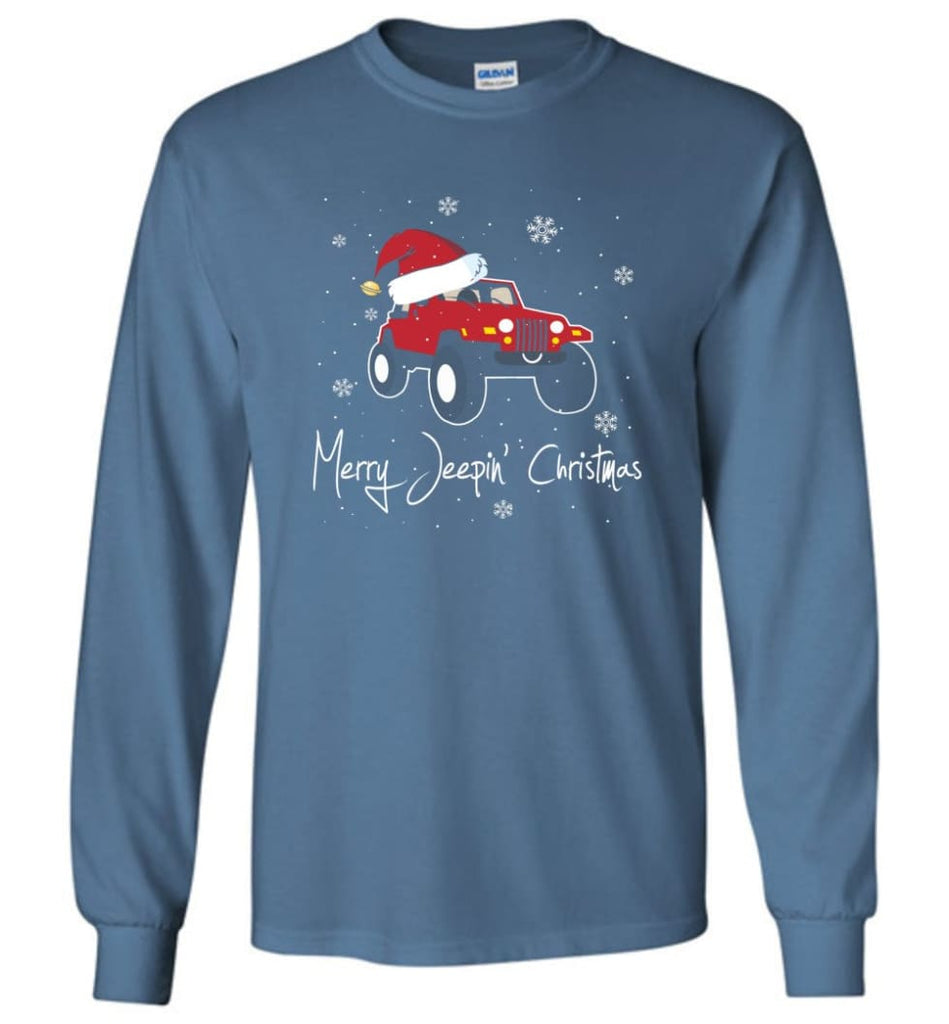 Jeep Shirt Merry Jeepas Jeep Sweatshirt Gift for Jeep Girls or Guys Long Sleeve T-Shirt - Indigo Blue / M