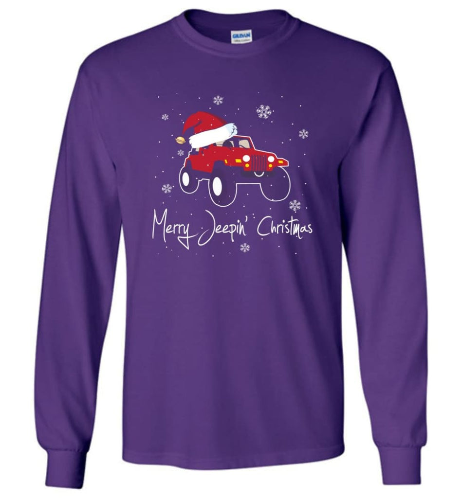 Jeep Shirt Merry Jeepas Jeep Sweatshirt Gift for Jeep Girls or Guys Long Sleeve T-Shirt - Purple / M