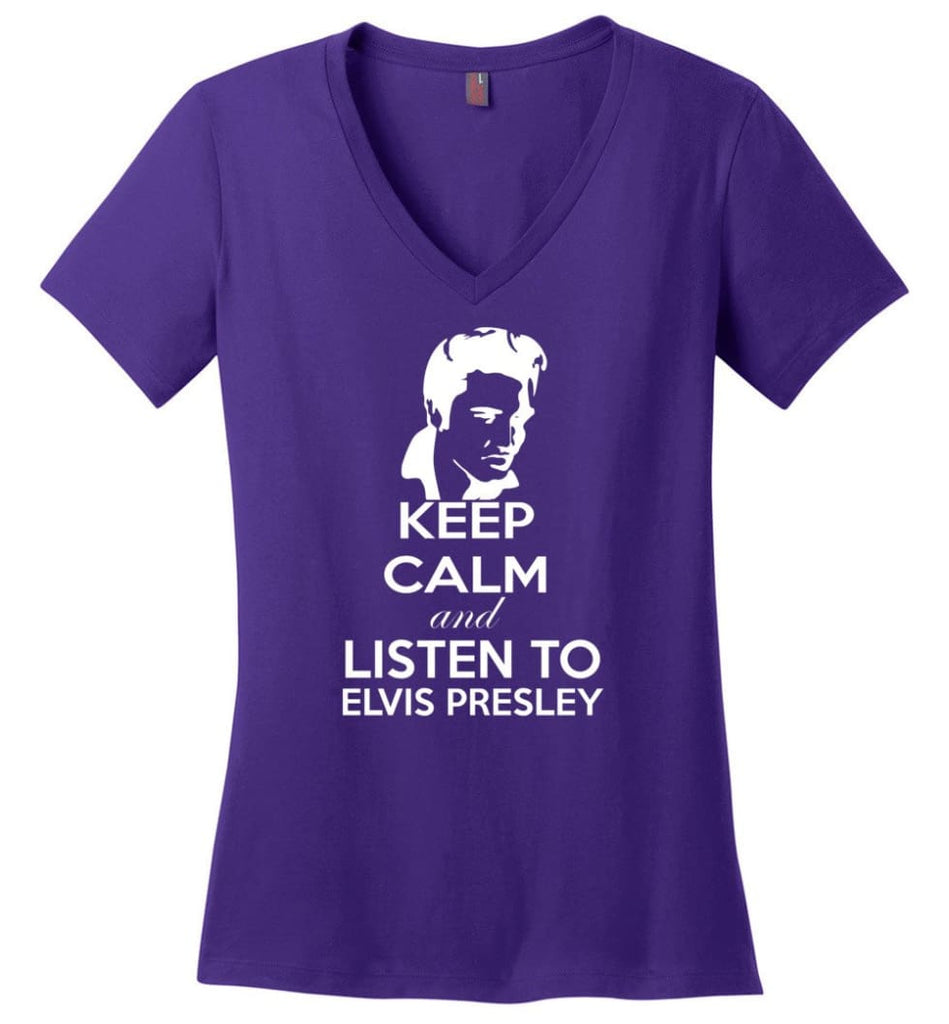 Keep Calm and Listen To Elvis Presley Shirt Hoodie Sweater - Ladies V-Neck - Purple / M
