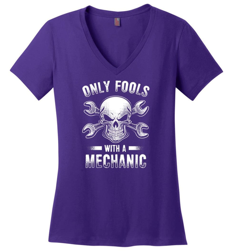 Keep Your Tie Desk Job Funny Shirt for Mechanic Ladies V-Neck - Purple / M