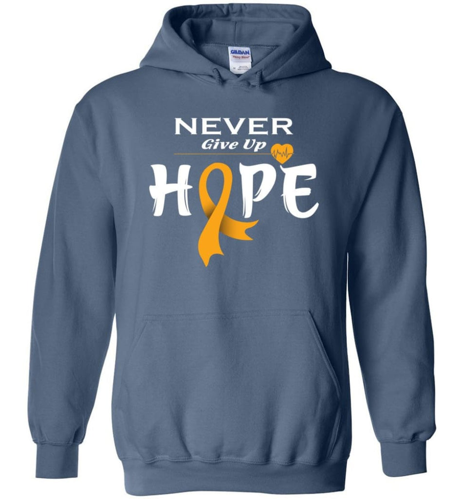 Kidney Cancer Awareness Never Give Up Hope Kidney Cancer Survivor Sweatshirt T-shirt and Hoodie - Indigo Blue / M