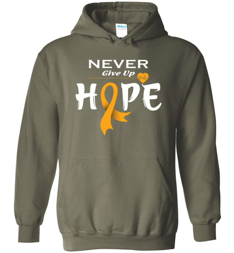 Kidney Cancer Awareness Never Give Up Hope Kidney Cancer Survivor Sweatshirt T-shirt and Hoodie - Military Green / M