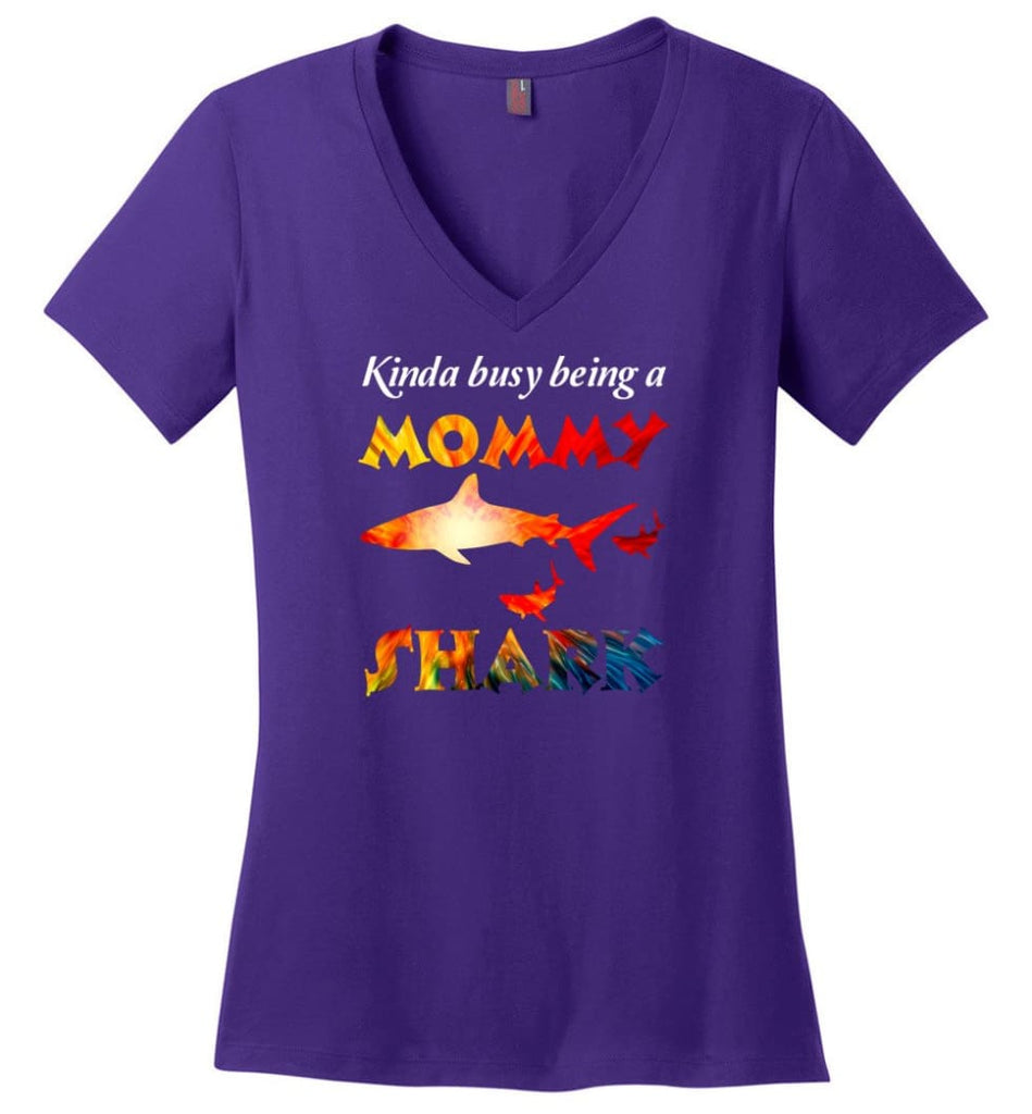 Kinda Busy Being A Mommy Shark - Ladies V-Neck - Purple / M - Ladies V-Neck