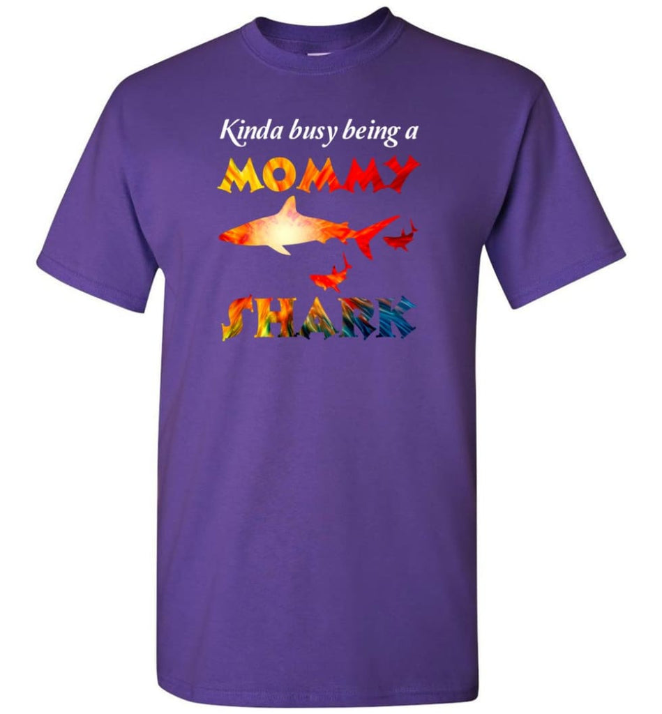 Kinda Busy Being A Mommy Shark - T-Shirt - Purple / S - T-Shirt