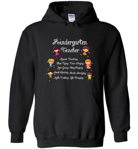 Kindergarten Teacher Funny Shirt Manner Teaching Love Giving - Hoodie - Black / M