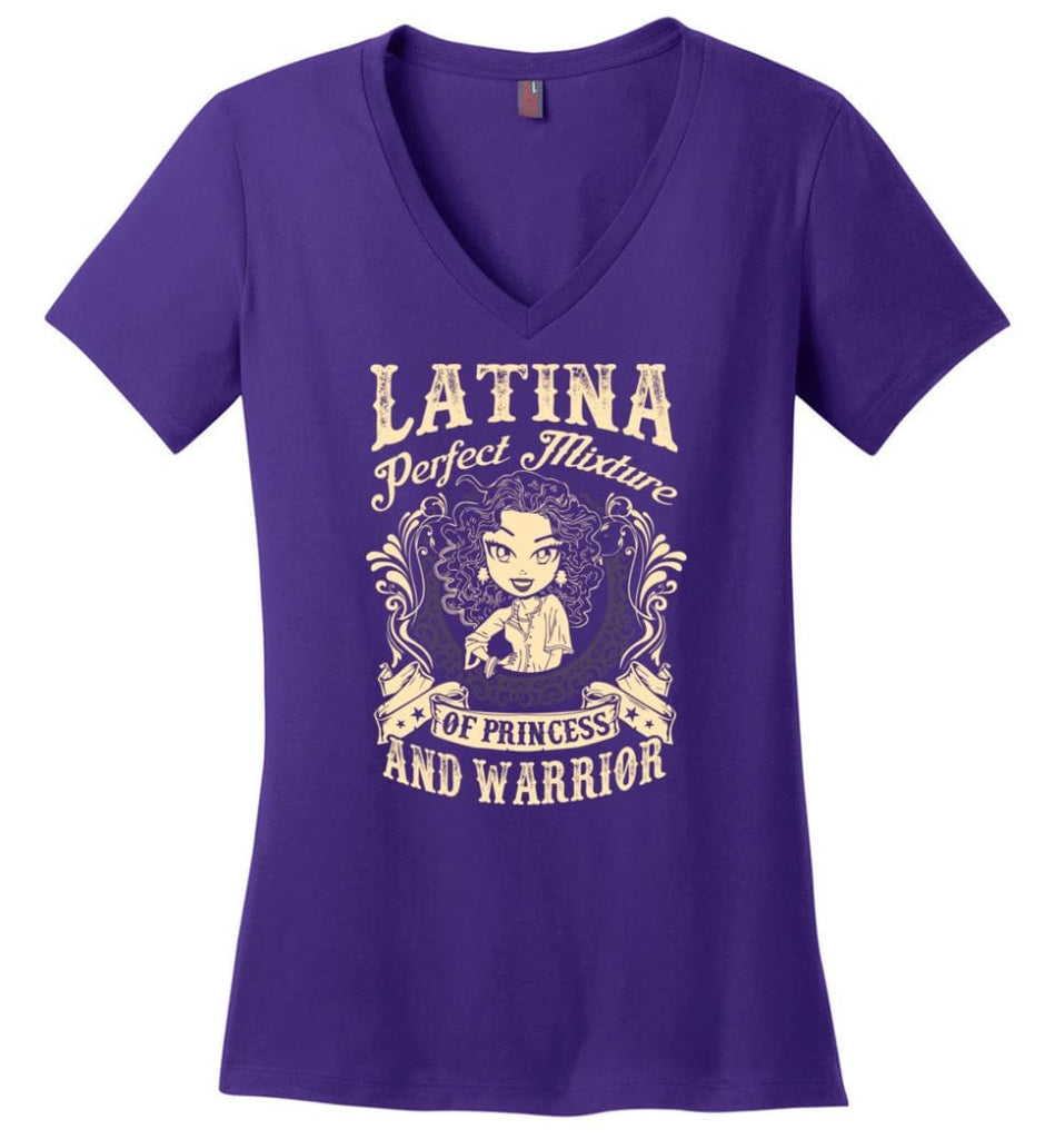 Latina Perfect Mixture Of Princess And Warrior Ladies V-Neck - Purple / M