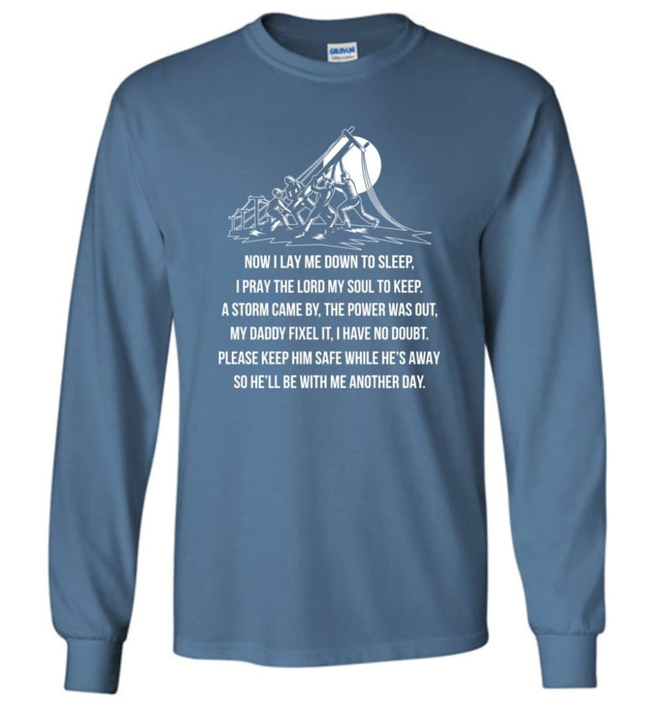 Lineman Dad Shirt Power Lineman Hoodies My Daddy Is A Lineman Shirt Long Sleeve - Indigo Blue / M