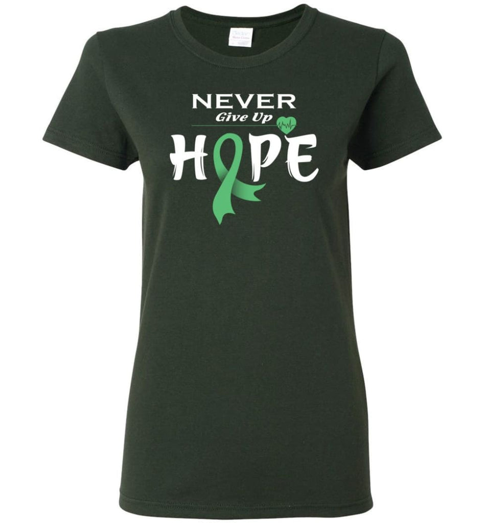 Liver Cancer Awareness Never Give Up Hope Women Tee - Forest Green / M