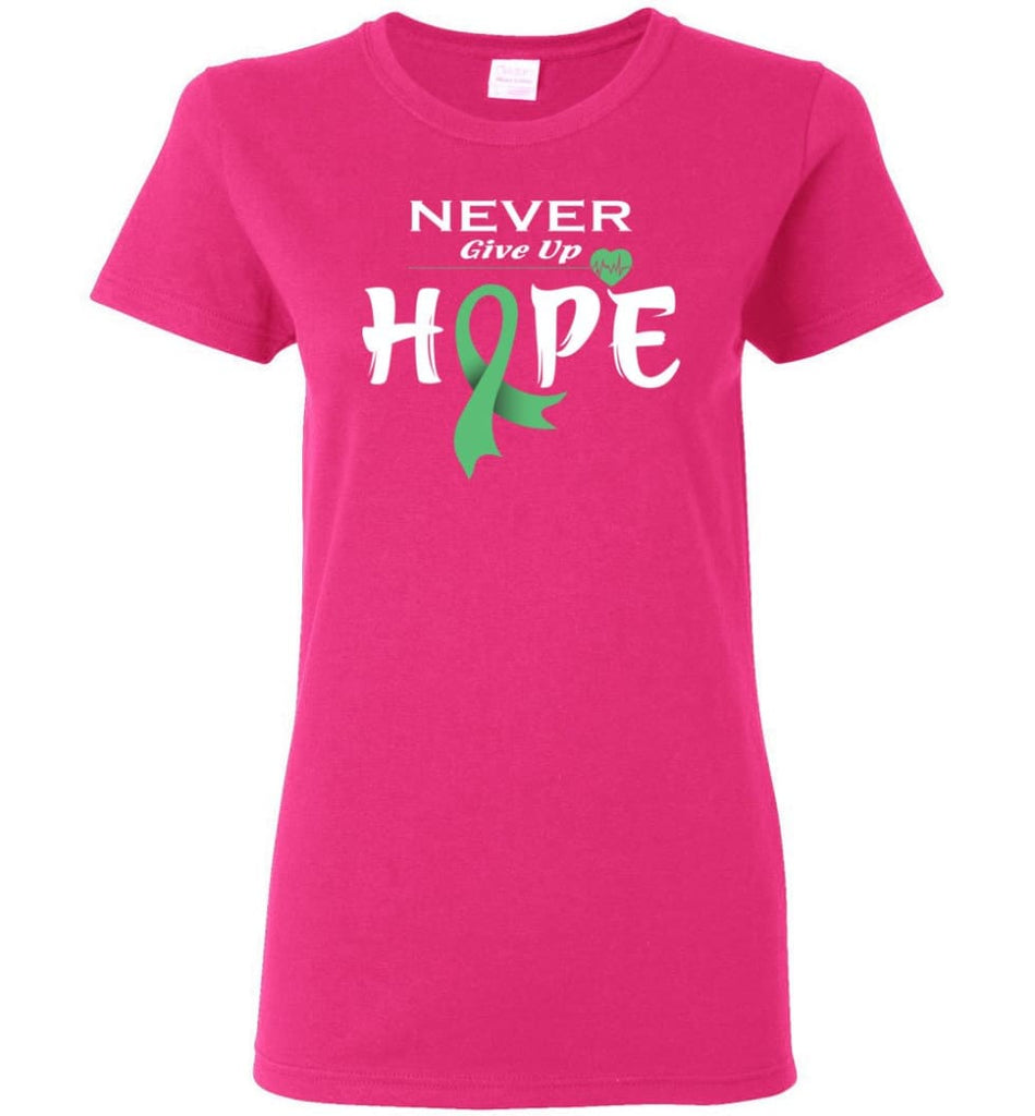 Liver Cancer Awareness Never Give Up Hope Women Tee - Heliconia / M