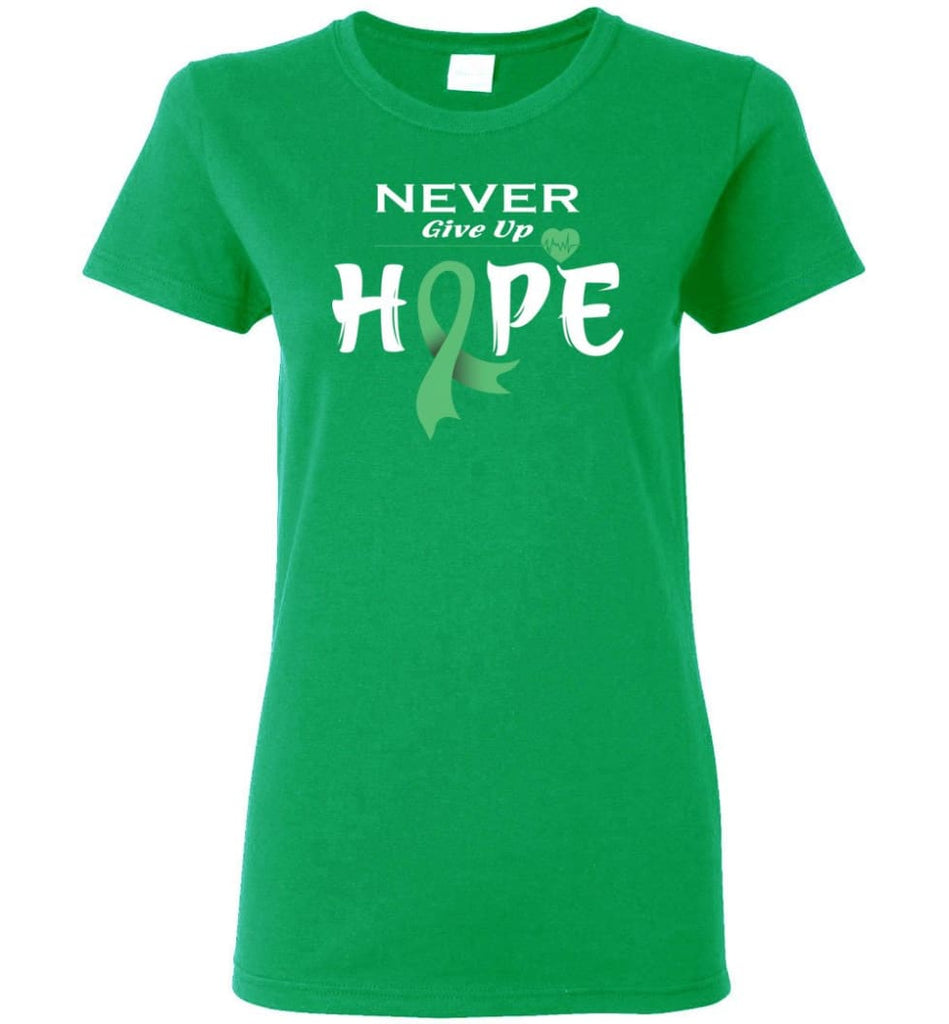 Liver Cancer Awareness Never Give Up Hope Women Tee - Irish Green / M