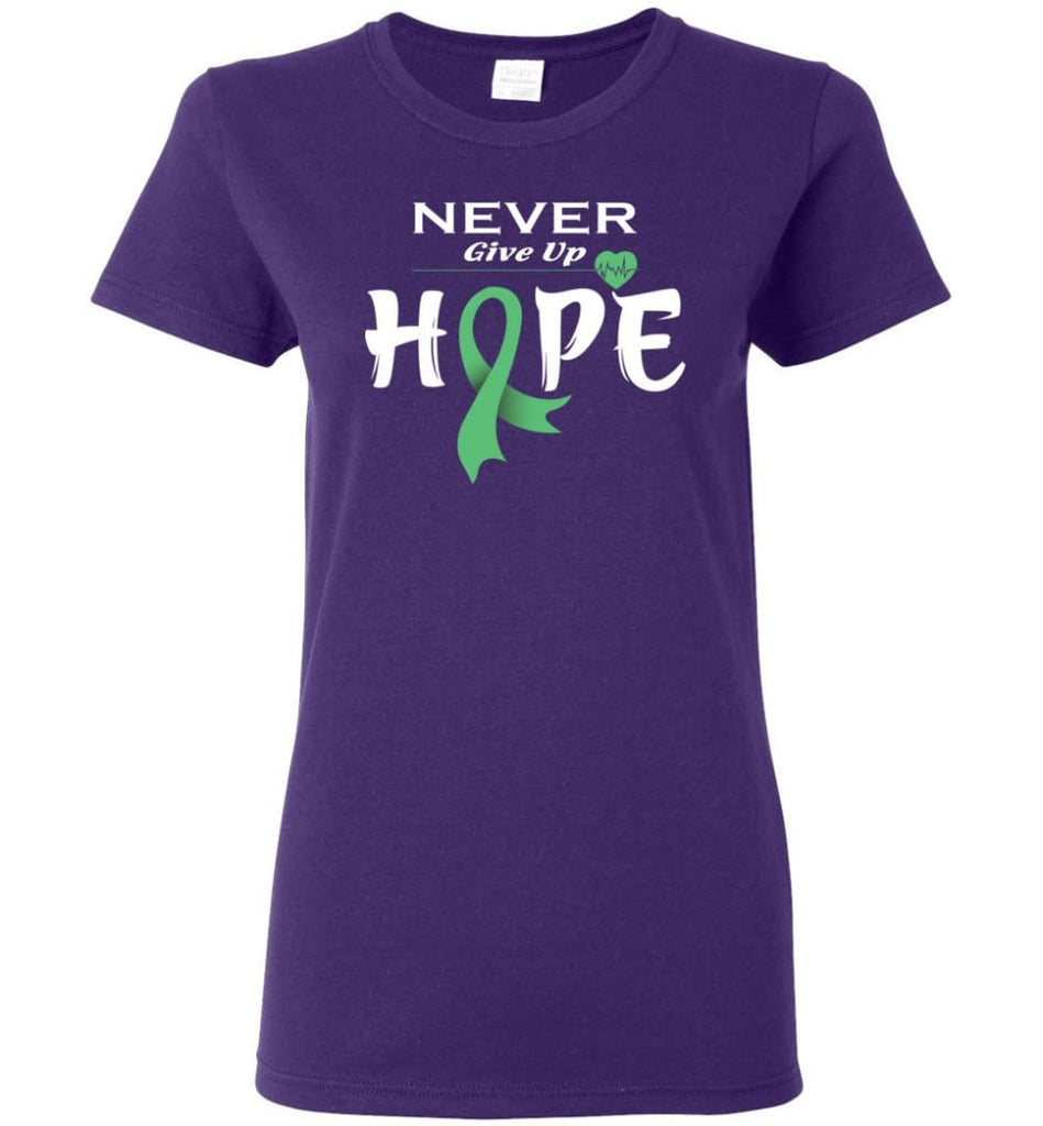 Liver Cancer Awareness Never Give Up Hope Women Tee - Purple / M