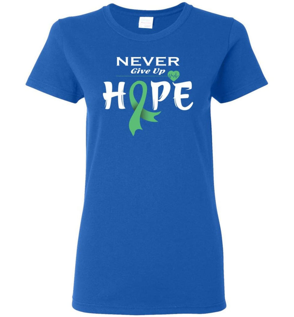 Liver Cancer Awareness Never Give Up Hope Women Tee - Royal / M