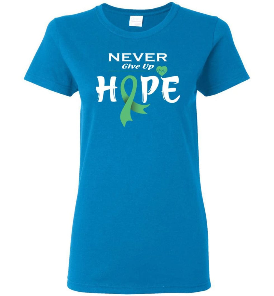 Liver Cancer Awareness Never Give Up Hope Women Tee - Sapphire / M