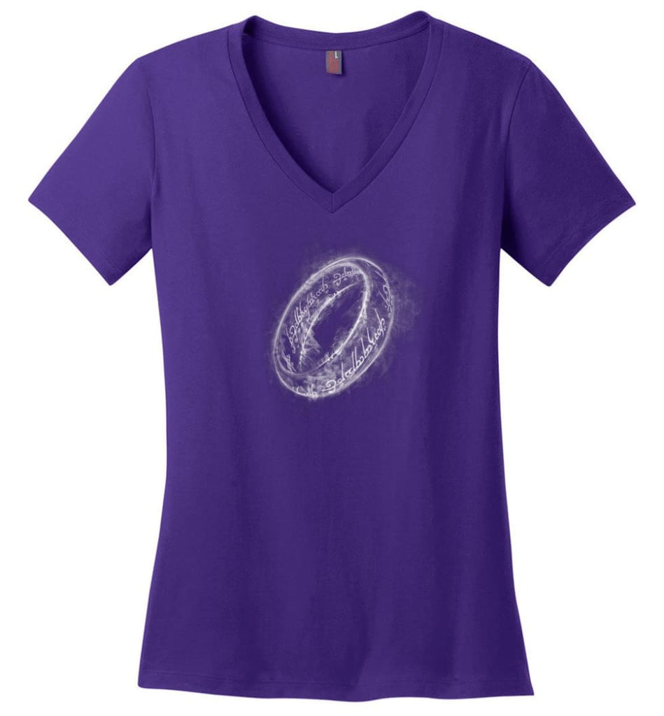 Lord Of The Rings Shirt One Ring Shirt Smoky Ring Ladies V-Neck - Purple / M