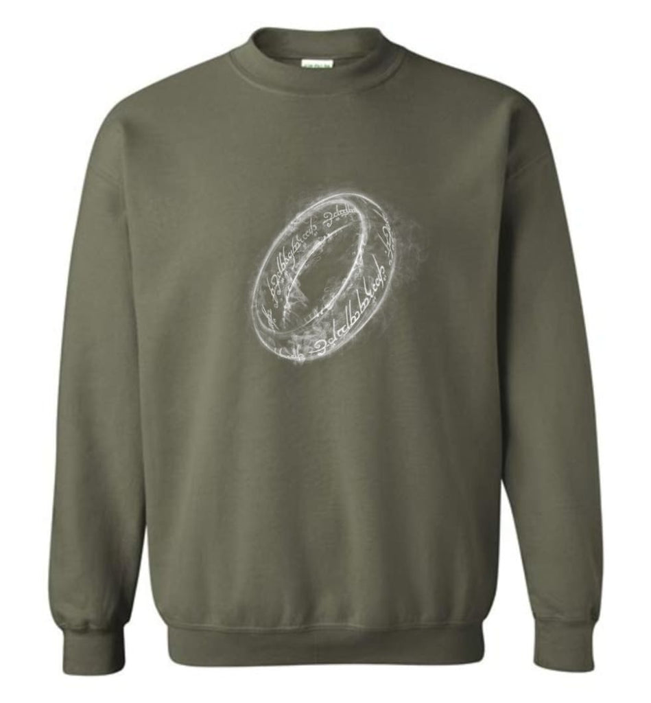 Lord Of The Rings Shirt One Ring Shirt Smoky Ring Sweatshirt - Military Green / M