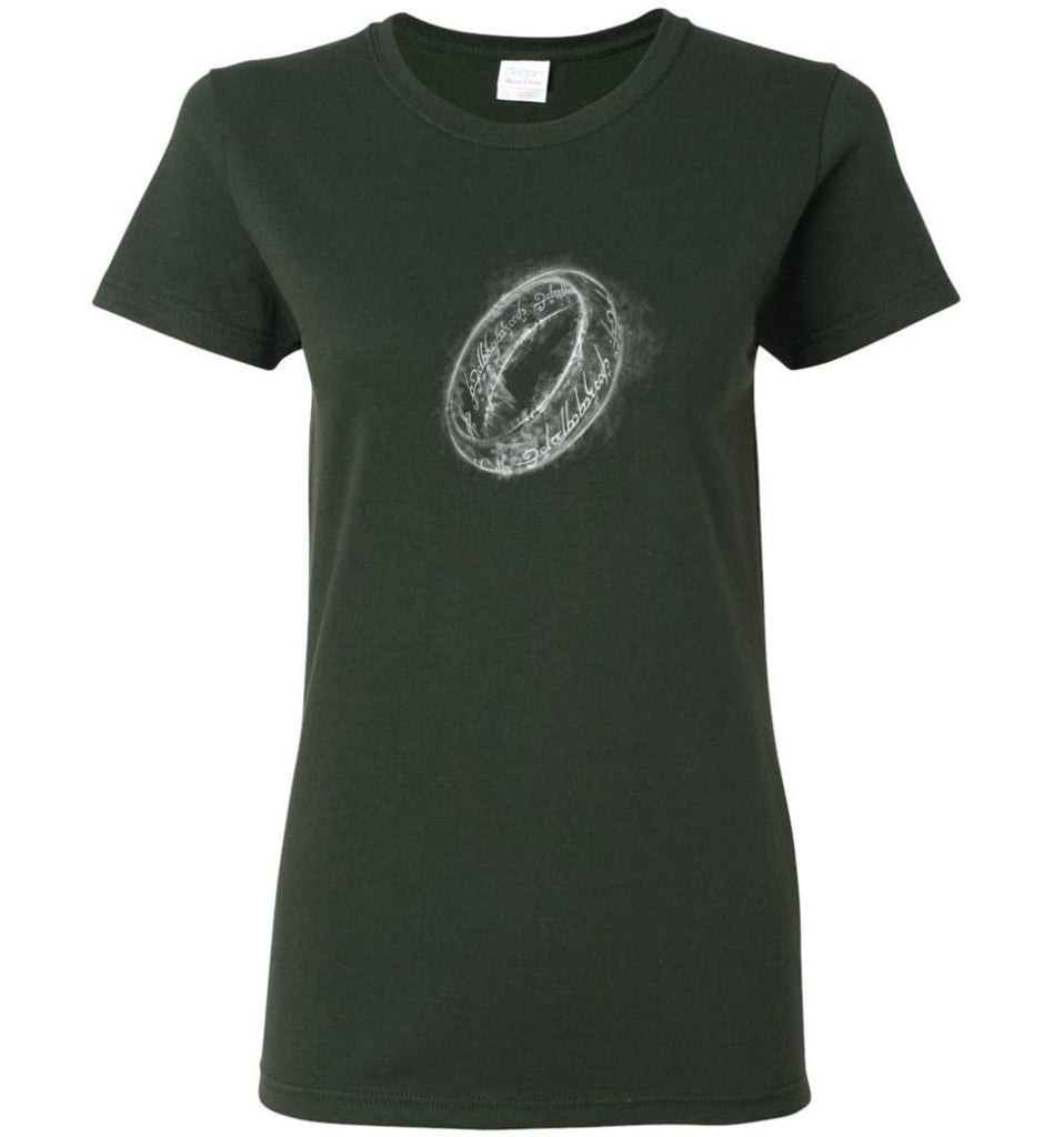 Lord of the Rings Shirt One Ring Shirt Smoky Ring - Women T-shirt - Forest Green / M