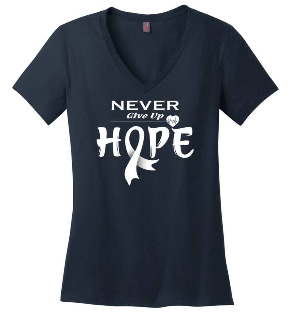 Lung Cancer Awareness Never Give Up Hope Ladies V-Neck - Navy / S