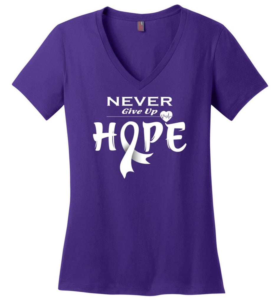 Lung Cancer Awareness Never Give Up Hope Ladies V-Neck - Purple / S