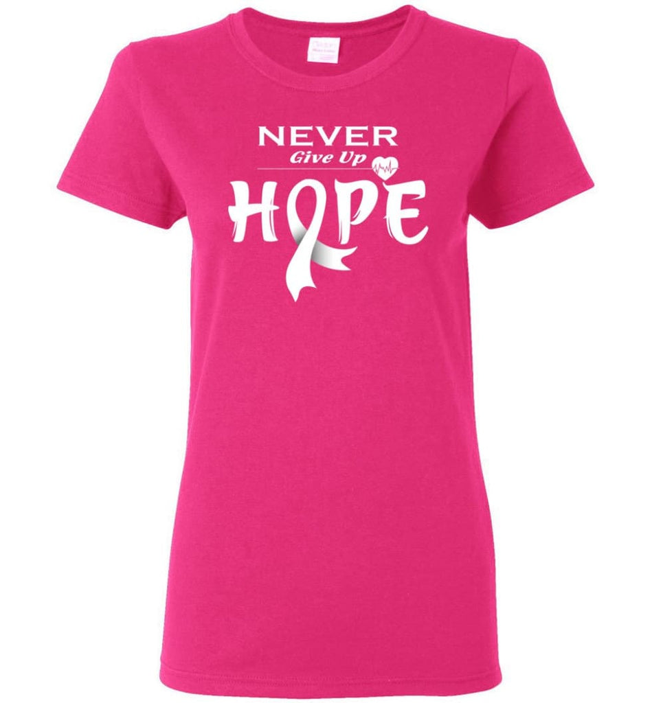 Lung Cancer Awareness Never Give Up Hope Women Tee - Heliconia / S