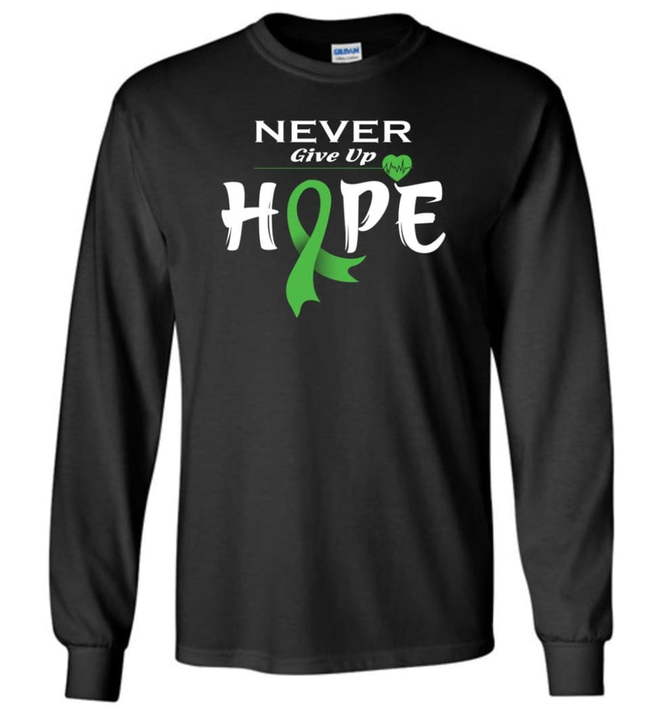 Lymphoma Cancer Awareness Never Give Up Hope Long Sleeve T-Shirt - Black / M