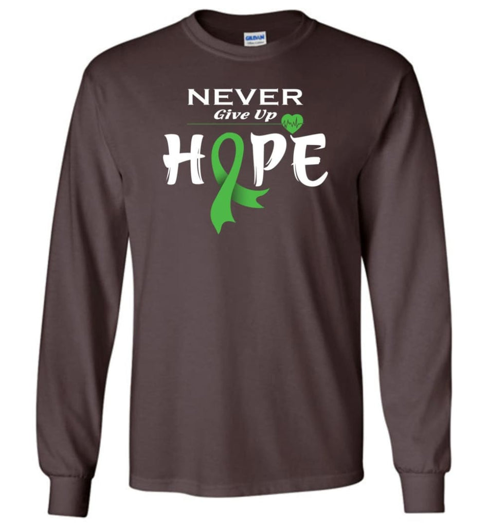 Lymphoma Cancer Awareness Never Give Up Hope Long Sleeve T-Shirt - Dark Chocolate / M