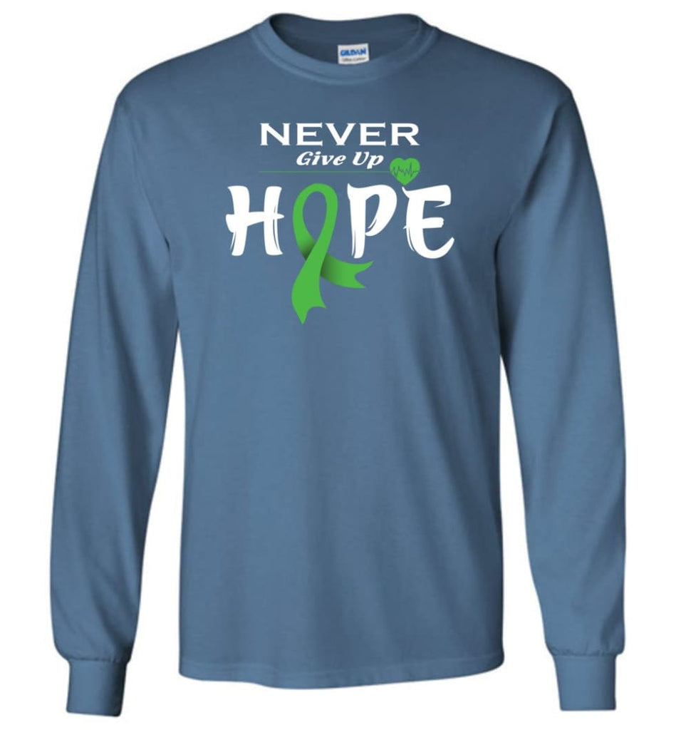Lymphoma Cancer Awareness Never Give Up Hope Long Sleeve T-Shirt - Indigo Blue / M