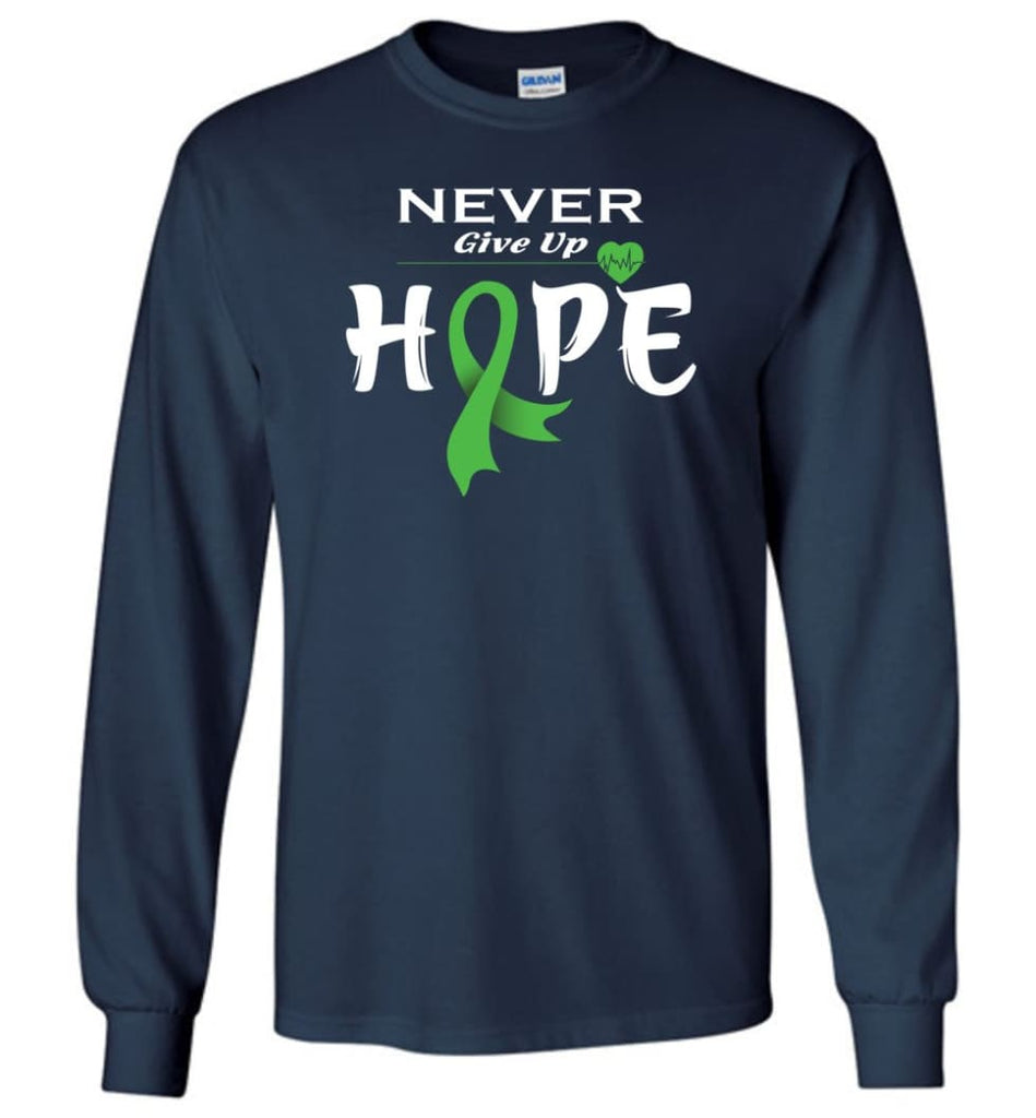 Lymphoma Cancer Awareness Never Give Up Hope Long Sleeve T-Shirt - Navy / M