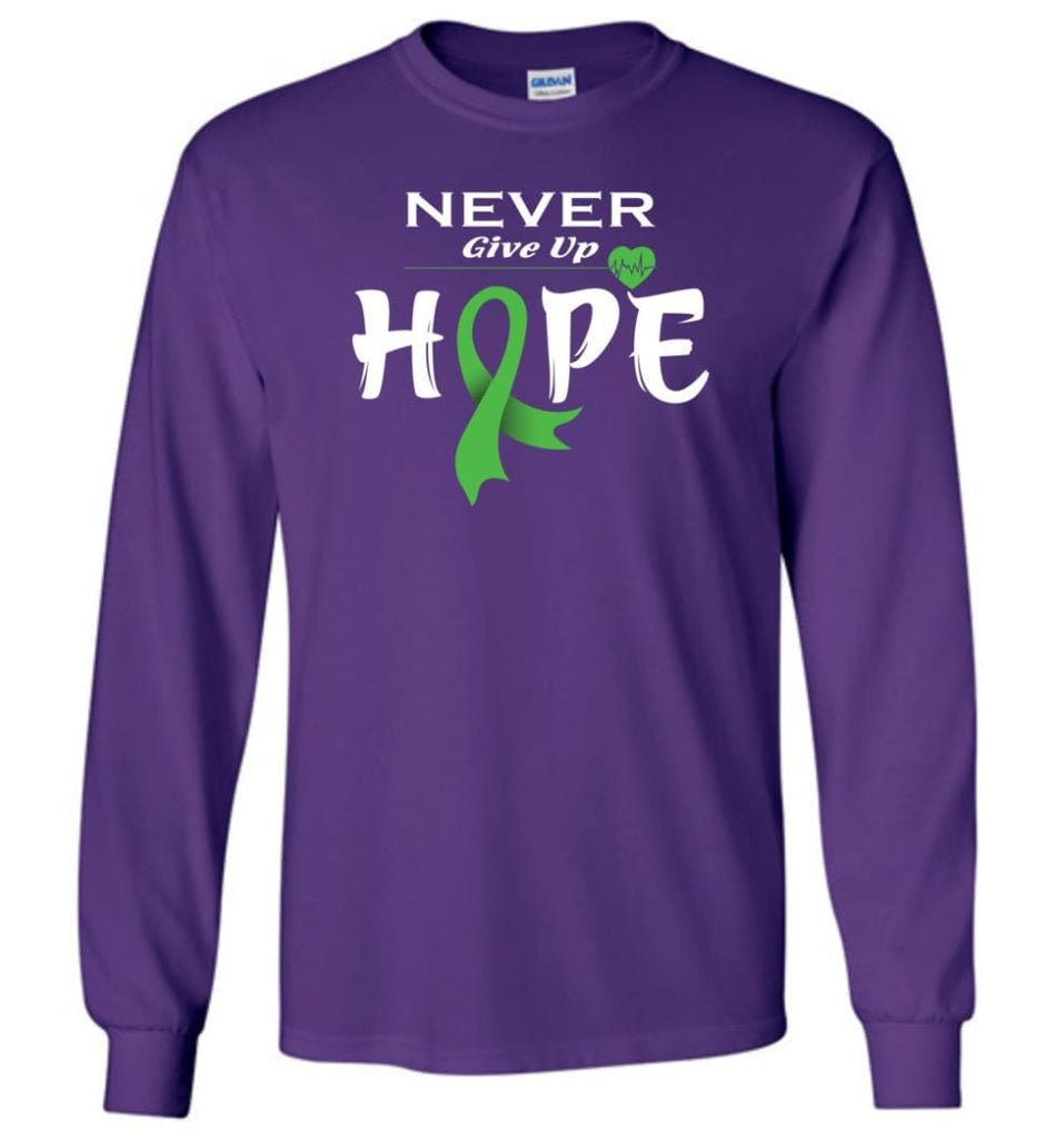 Lymphoma Cancer Awareness Never Give Up Hope Long Sleeve T-Shirt - Purple / M