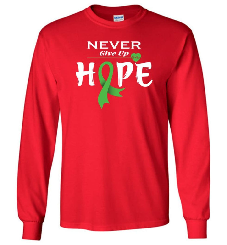 Lymphoma Cancer Awareness Never Give Up Hope Long Sleeve T-Shirt - Red / M