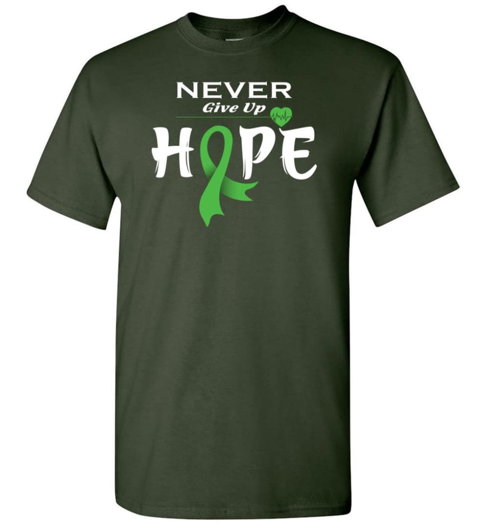 Lymphoma Cancer Awareness Never Give Up Hope T-Shirt - Forest Green / S