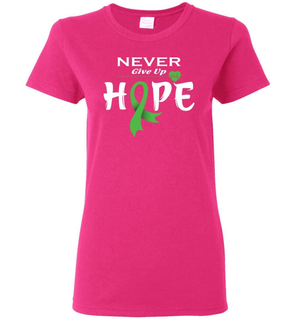 Lymphoma Cancer Awareness Never Give Up Hope Women Tee - Heliconia / M