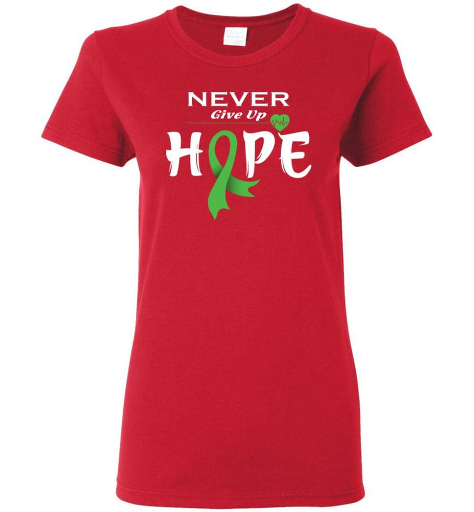 Lymphoma Cancer Awareness Never Give Up Hope Women Tee - Red / M