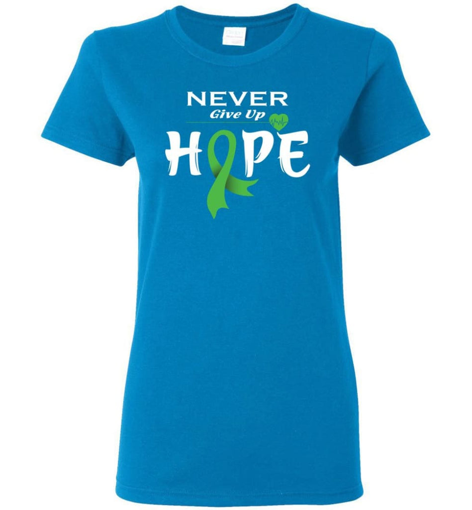 Lymphoma Cancer Awareness Never Give Up Hope Women Tee - Sapphire / M