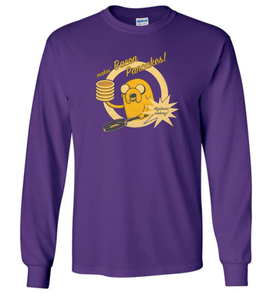 Making Bacon Pancakes Shirt Funny Adventure Time Making Breakfast - Long Sleeve T-Shirt - Purple / M