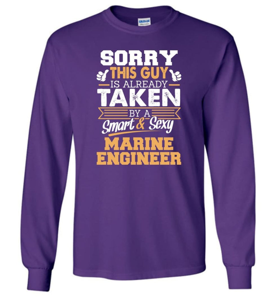 Marine Engineer Shirt Cool Gift for Boyfriend Husband or Lover - Long Sleeve T-Shirt - Purple / M