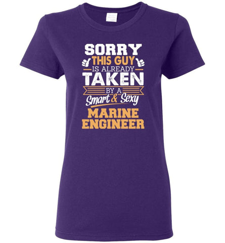 Marine Engineer Shirt Cool Gift for Boyfriend Husband or Lover Women Tee - Purple / M - 7