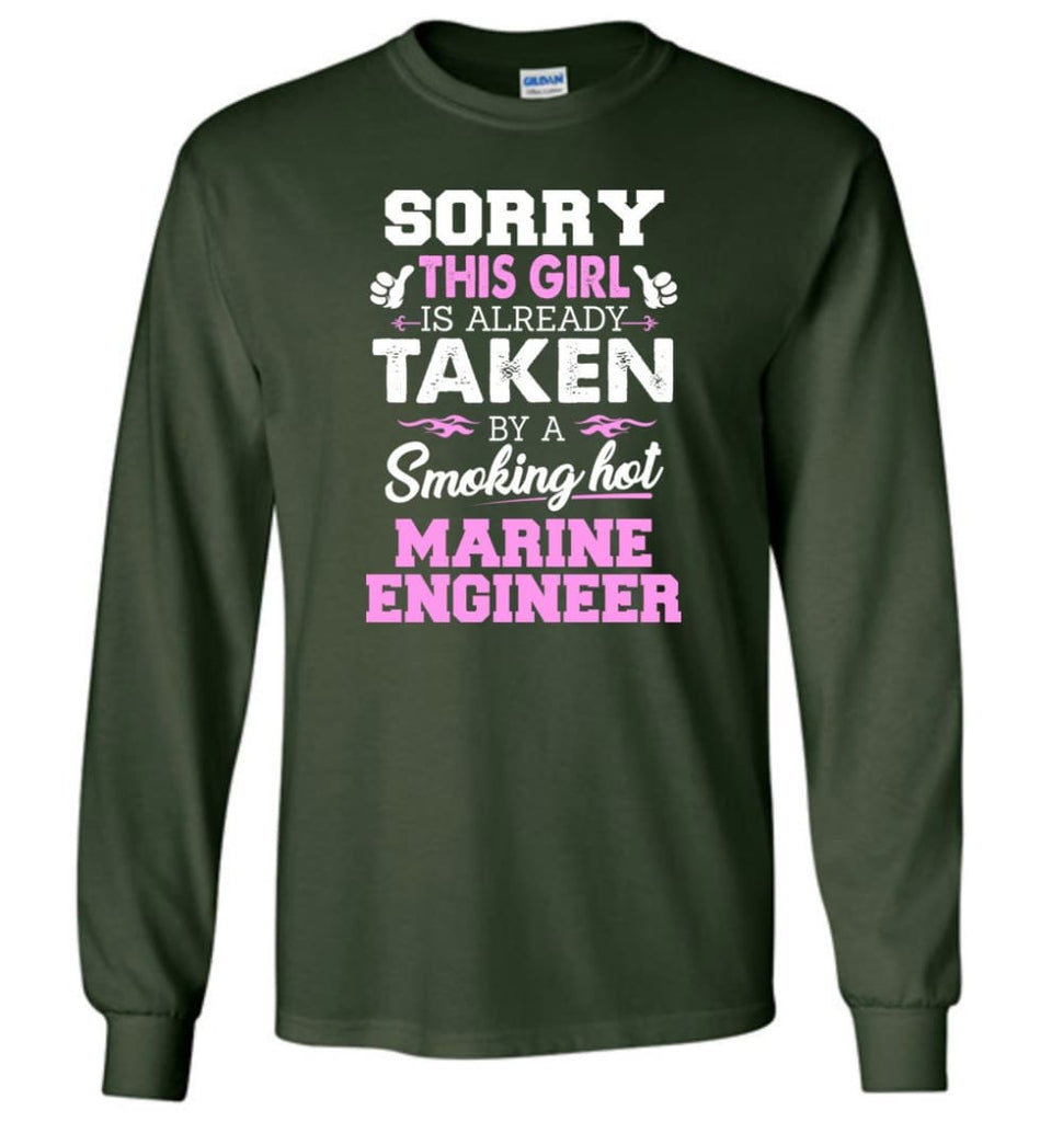 Marine Engineer Shirt Cool Gift for Girlfriend Wife or Lover - Long Sleeve T-Shirt - Forest Green / M