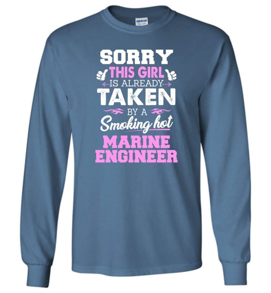Marine Engineer Shirt Cool Gift for Girlfriend Wife or Lover - Long Sleeve T-Shirt - Indigo Blue / M