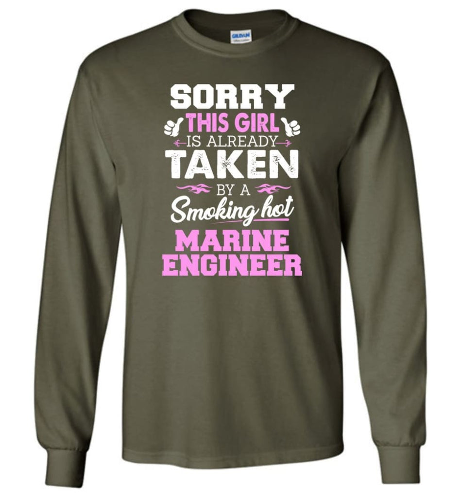 Marine Engineer Shirt Cool Gift for Girlfriend Wife or Lover - Long Sleeve T-Shirt - Military Green / M
