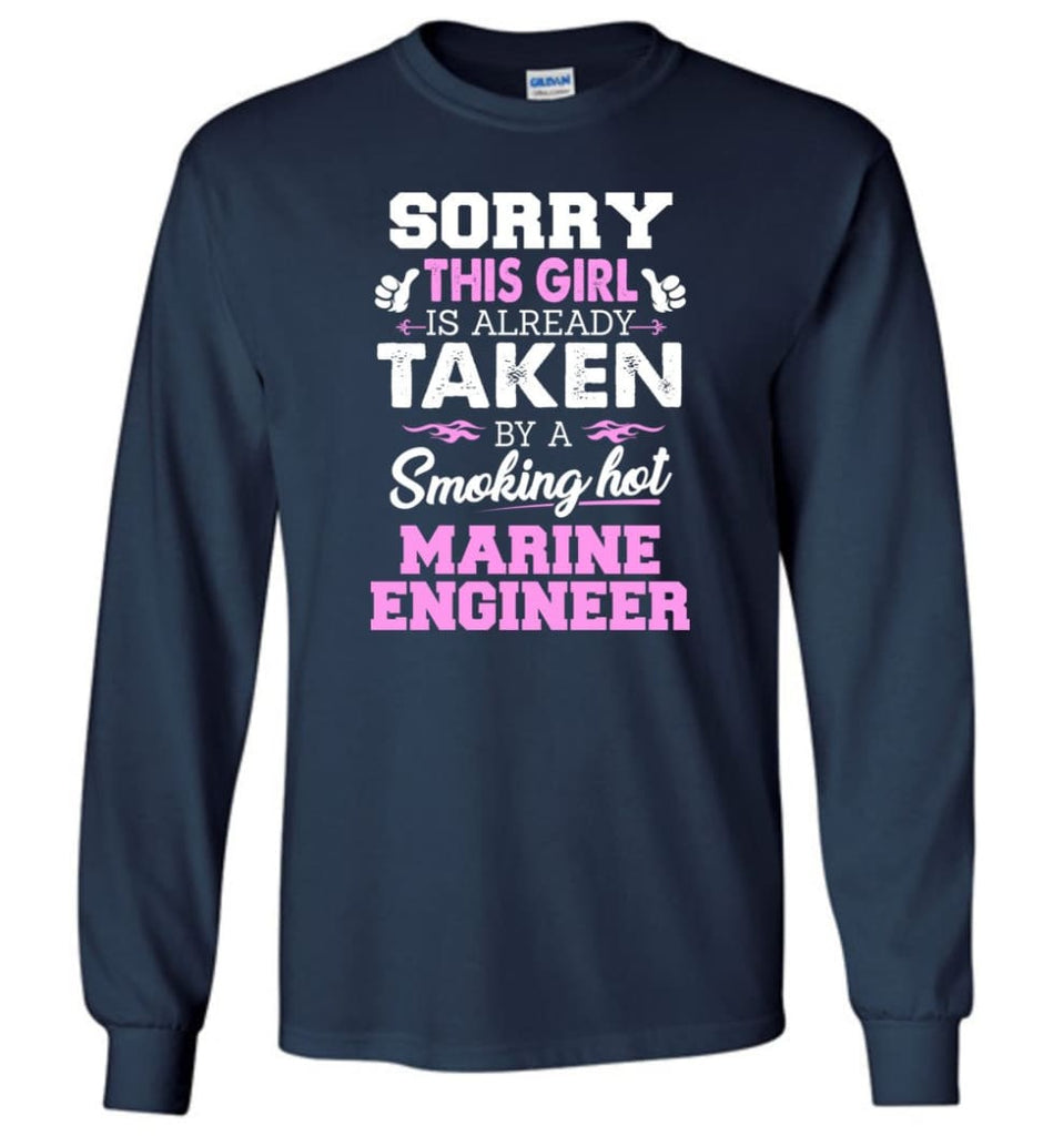 Marine Engineer Shirt Cool Gift for Girlfriend Wife or Lover - Long Sleeve T-Shirt - Navy / M