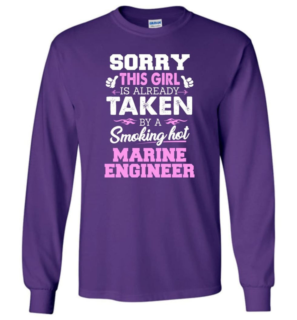 Marine Engineer Shirt Cool Gift for Girlfriend Wife or Lover - Long Sleeve T-Shirt - Purple / M