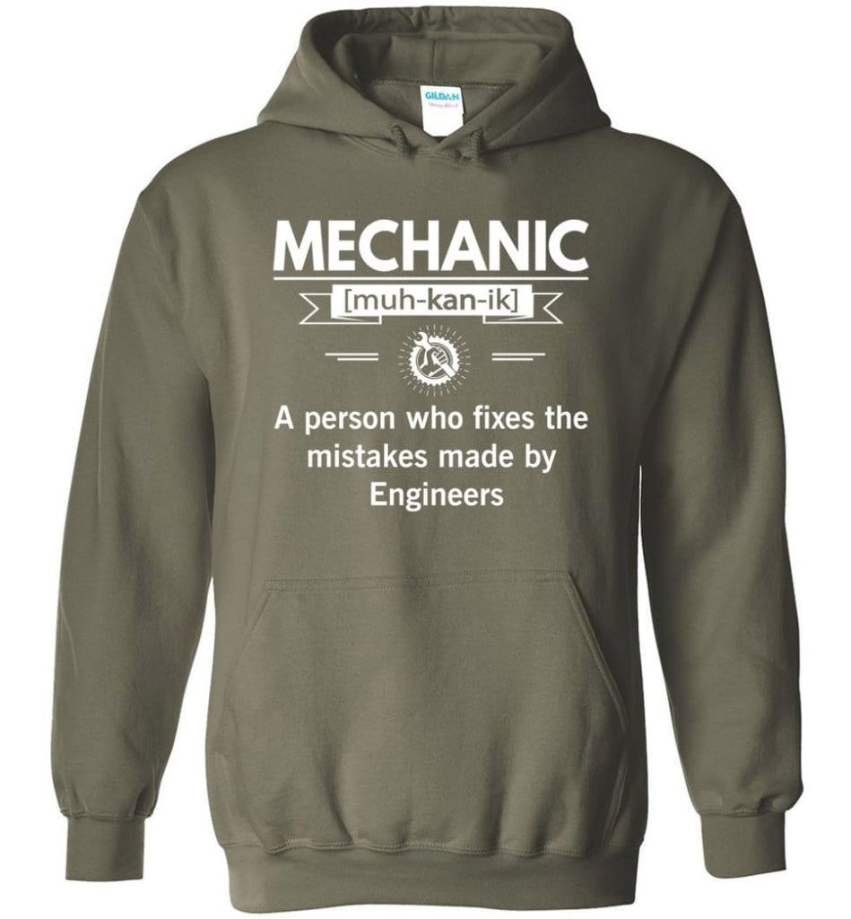 Mechanic Definition Funny Mechanic Meaning Hoodie - Military Green / M
