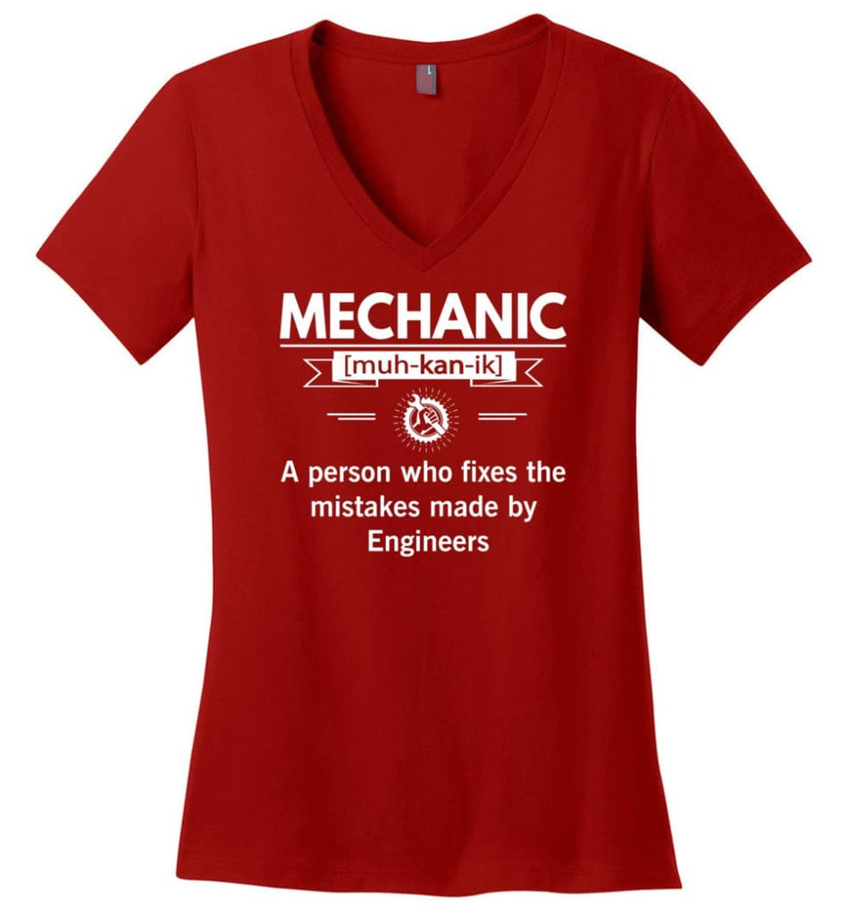 Mechanic Definition Funny Mechanic Meaning Ladies V-Neck - Red / M