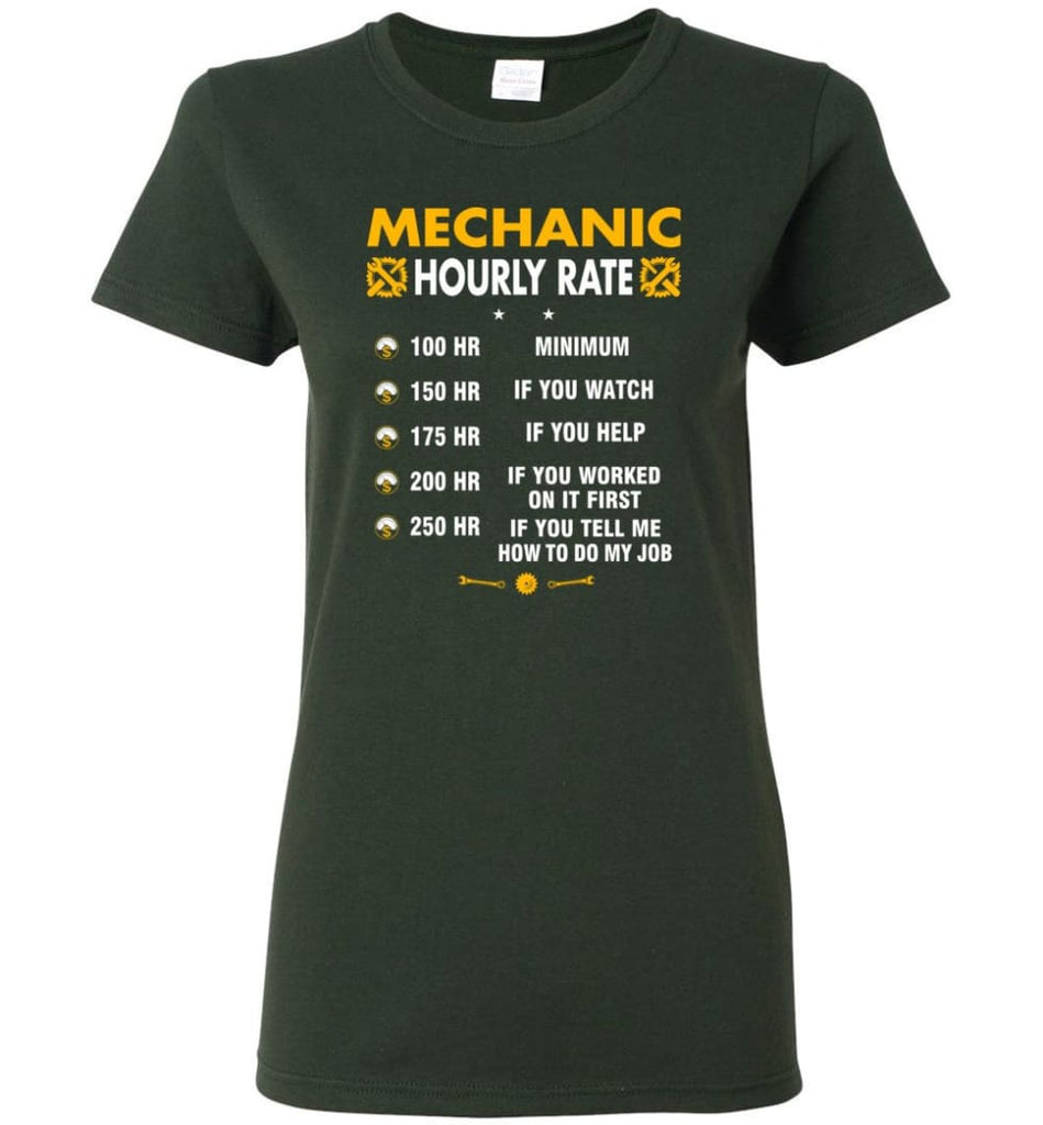 Mechanic Hourly Rate Funny Mechanic Women Tee - Forest Green / M