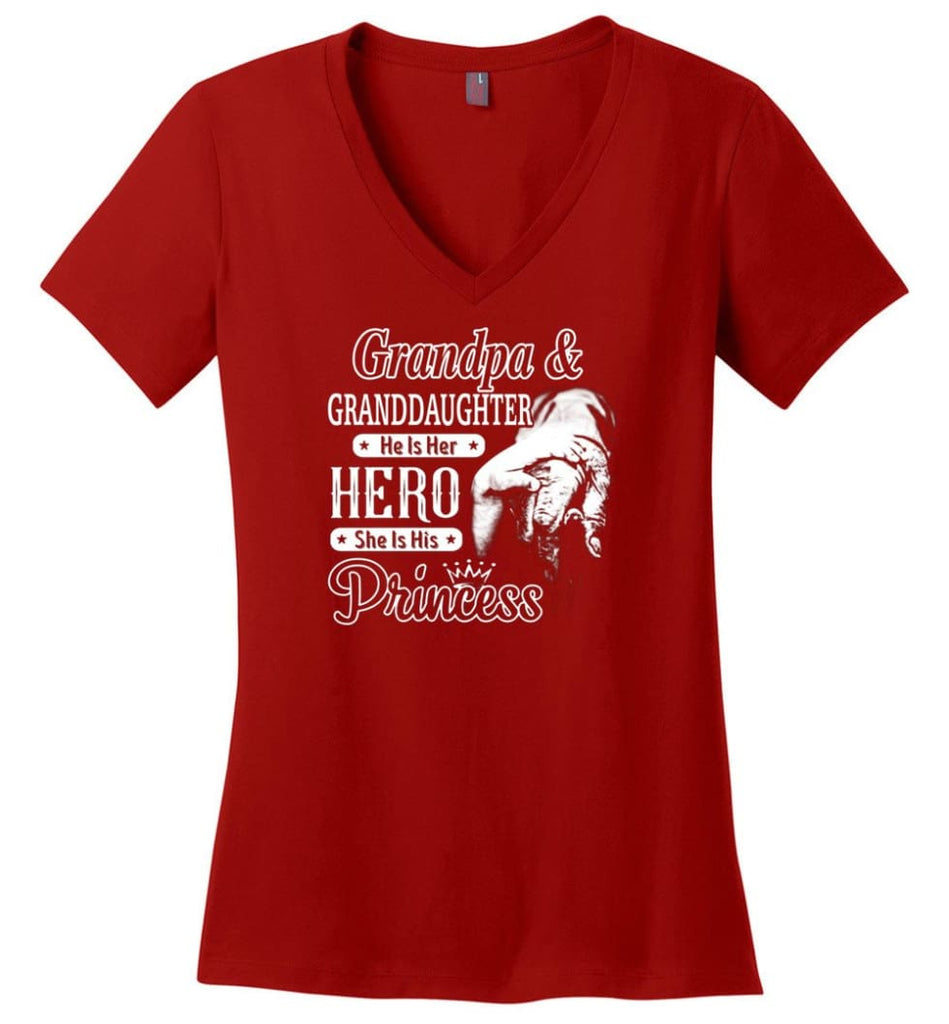 Mechanic Shirt I Love Paw Paw Best Gift For Father's Day Ladies V-Neck - Red / M