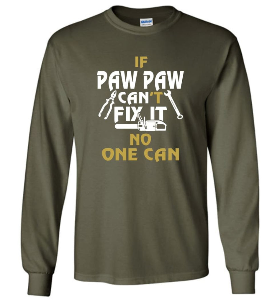 Mechanic Shirt I Love Paw Paw Best Gift For Father's Day - Long Sleeve T-Shirt - Military Green / M