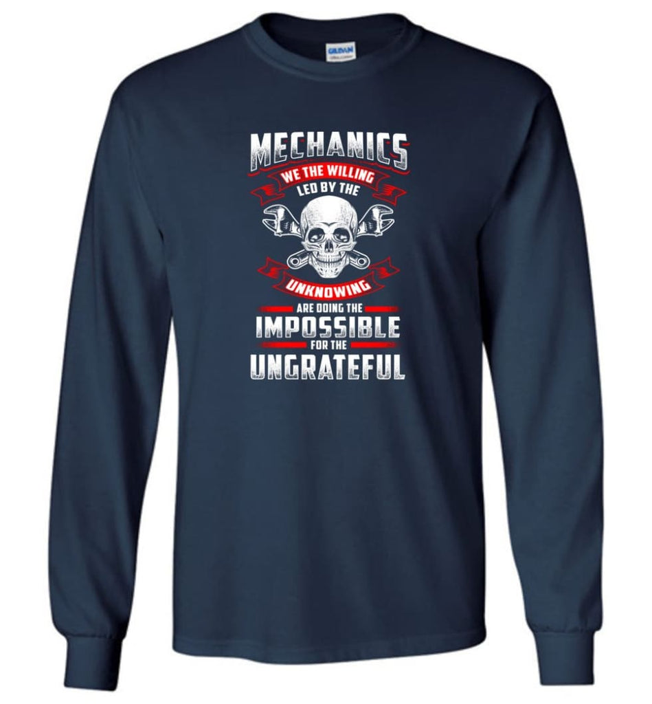 Mechanics We The Willing Leg By The Inknowing - Long Sleeve T-Shirt - Navy / M