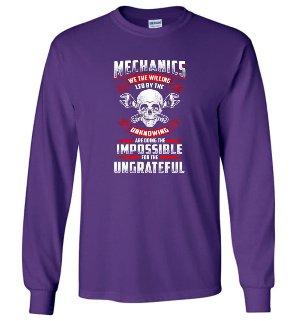 Mechanics We The Willing Leg By The Inknowing - Long Sleeve T-Shirt - Purple / M