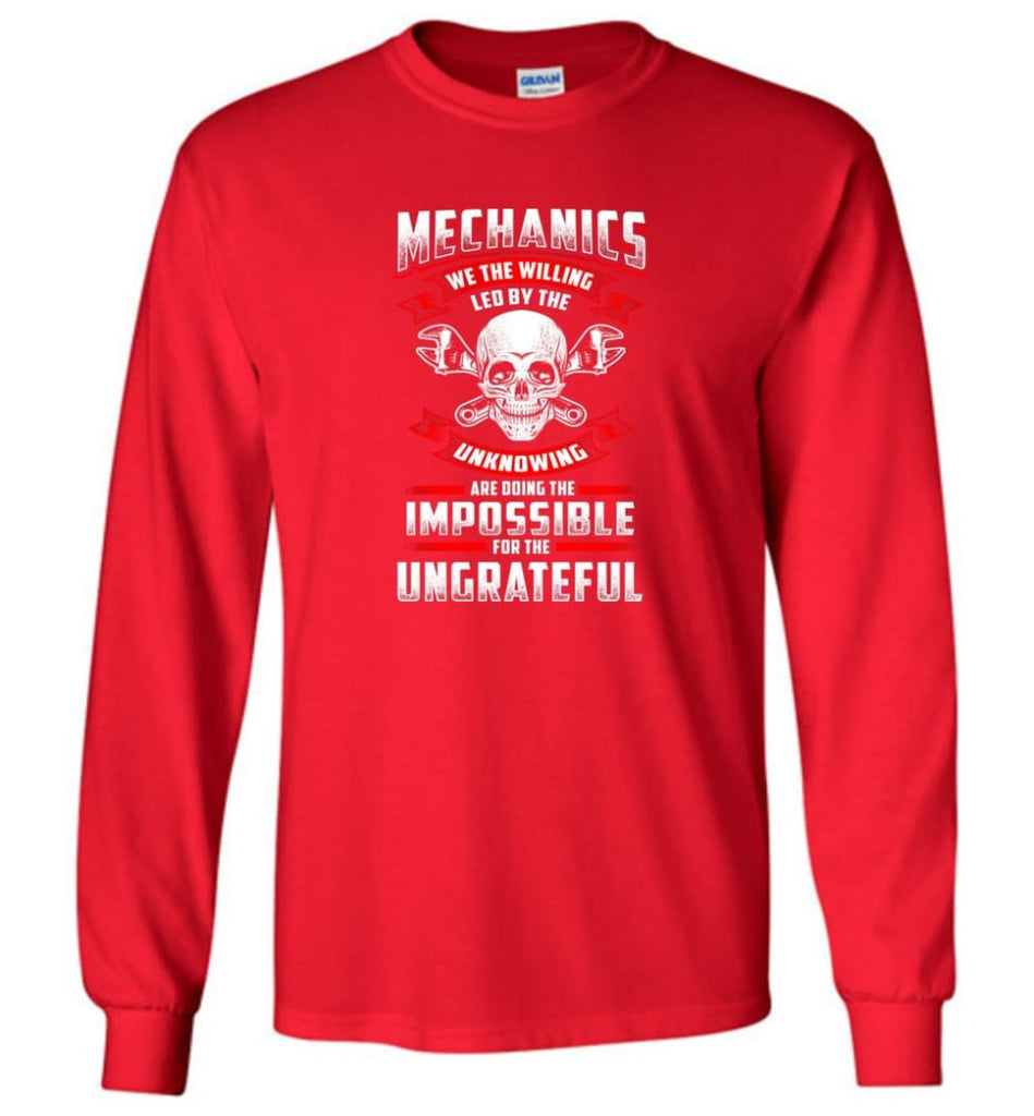 Mechanics We The Willing Leg By The Inknowing - Long Sleeve T-Shirt - Red / M